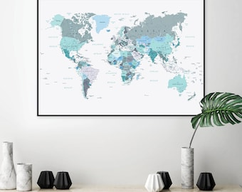 World map etsy downloadable world map map world map blue green map green map gumiabroncs Choice Image