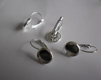 1 set of 4 earrings in 925 sterling silver stud earring holders