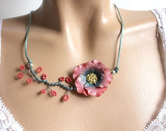 Pink Camellia flower and peacock blue satin cord necklace