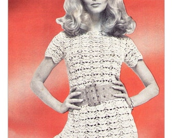 Vintage 70's CROCHET Mini Dress Pattern - PDF Pattern - Instant Download - UK