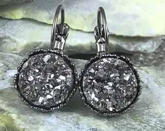 Gunmetal Druzy Earrings - Drusy - Leverback Earrings - Bridesmaid Gift - Gunmetal Jewelry - Drop Earrings - Druzy Jewelry - Gunmetal