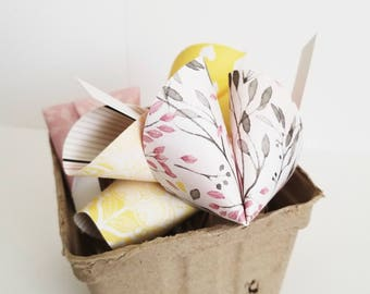 Paper Fortune Cookies Set of 24 Black and Yellow Floral Print Bridal Shower Favors Wedding Favors Paper Crafts Made To Order