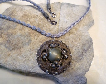 Handmade Necklace With Antique Button Accent