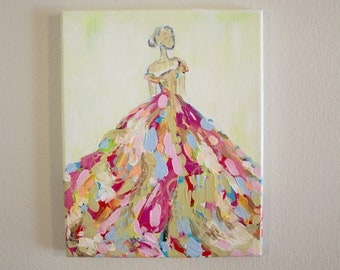 "Original Fashion Illustration - Acrylic Painting - Abstract - 8x10"""