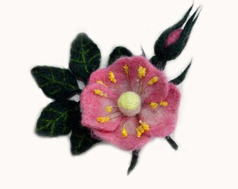 Needle felted rose brooch, pin, wool flower brooch, pin