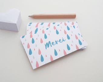 Set of 18 mini thank you cards illustrated with raindrops