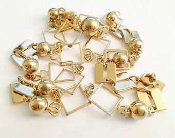 """Fun and Fabulous Gold Toned 30"""" Modern Style Necklace, Light, Sparkling and Interesting Chain Necklace, Mad Men Jewelry"""
