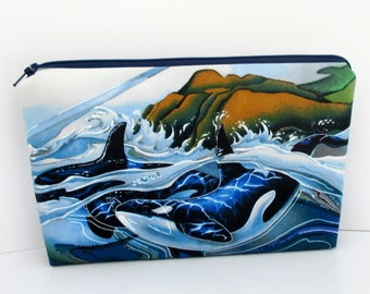 Make Up Cosmetic Zipper Pouch, Whales of the Pacific, By Ocean Patch