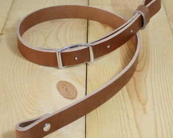 "Handmade Buffalo Leather Rifle Sling w/ SS Conway Buckle_Adj 30"" to 36"" & 36"" to 42""_Made in USA_FREE SHIPPING"