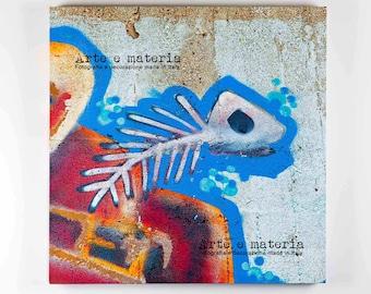Fish, la fotografia di street art diventa fumetto.Il regalo perfetto per teenager.Fine art print su canvas con interventi in foglia di rame.