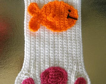 Cat Christmas Stocking - Pet Christmas Stocking - Paw Print Stocking - Crochet Stocking - Holiday Stocking - Christmas Home Decor