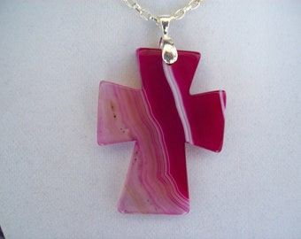 """Pink Agate Cross pendant with chain - 2-1/4"""" long"""