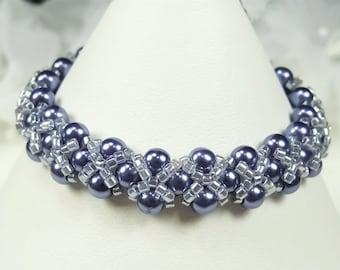 Flower Girl Bracelet, Royal Blue Pearl Hugs and Kisses Flower Girl Bracelet, Hand Woven Childs Wedding Jewelry - Abby WFG0188