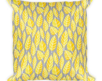 Beautiful trend-forward grey and yellow leaves nature natural hand-drawn pattern on gorgeous Square Pillow Home Decor