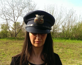 Vintage Military Hat Cap, Bulgarian Uniform Hat, Dark Blue Military Cap, Soviet Era Hat, Steampunk Hat, Gift Idea