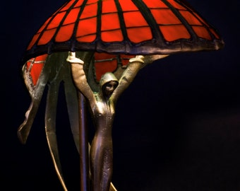 Red Lamp, Red Lamp Shade, Art Nouveau Lamp, Home Decor, Stained Glass Lamp, Tiffany Lamp, Bronze Sculpture, Vintage Lamp, Bronze Decor