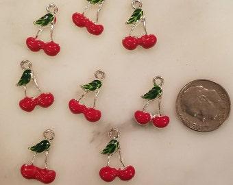 8 Cherry Cherries Double Enamel Charms Findings