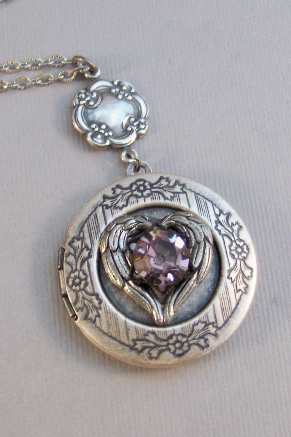 hp lrg heart am lockets amethyst antique silver p pendant locket style sterling