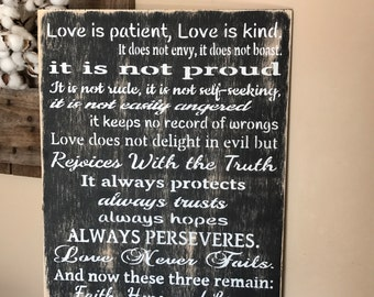 Love Is Patient, Love Is Kind Corinthians 13 Handmade Rustic Wood Sign