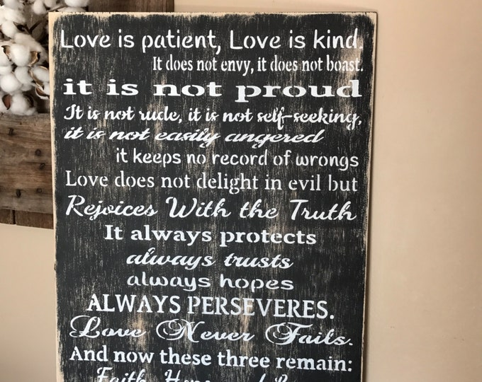 Love Is Patient, Love Is Kind Corinthians 13 Handmade Rustic Wood Sign