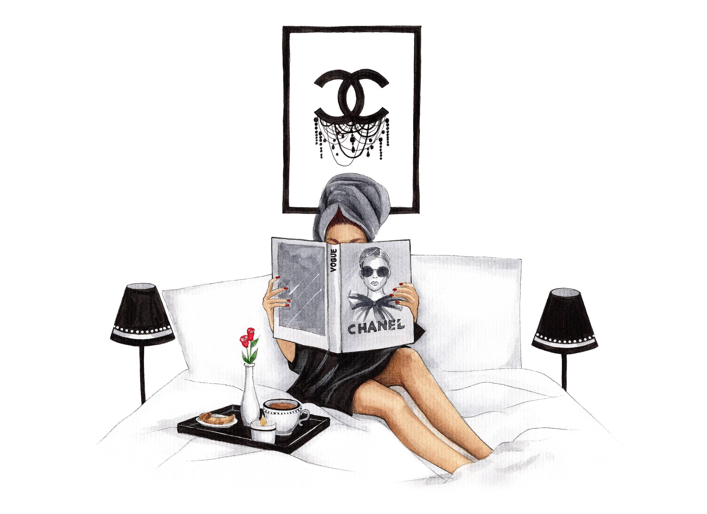 fashion illustration fashion wall art chanel art chanel print. Black Bedroom Furniture Sets. Home Design Ideas