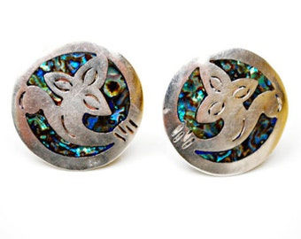 Sterling Abalone Earrings - Taxco Mexico -  925  Silver - Shell inlay - screw back earring