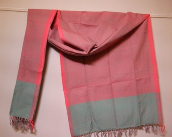 The 'Agni' Pink and Turquoise Striped Scarf from Weaving Destination 100% Organic Cotton