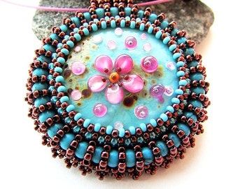 Bead Embroidered Flower Pendant Blue Necklace Embroidery Flower Jewelry Pink Flower Pendant Lampwork Glass Artist Cabochon