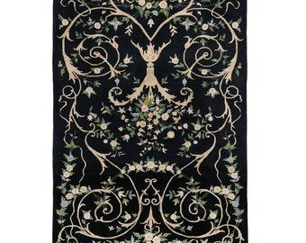 Vintage Indian Black Rug with Modern Arabesque Style, 06'00 x 08'10 (6 x 9 Rug)