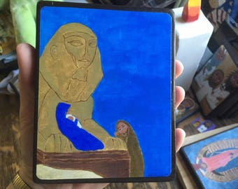 4 X 6 Flight to Egypt Byzantine Folk style icon on wood by DL Sayles