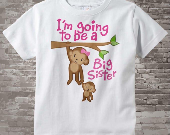 Big Sister Onesie - Big Sister tshirt - I'm Going to Be A Big Sister Onesie - Big Sister Announcement Shirt -Monkey Jungle Theme 12132011a