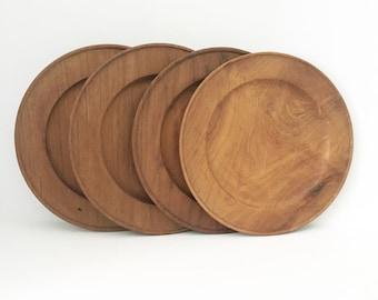 Teak Plates Wooden Plates set of 4 Mid century Plates kitchen Plates Outdoor plates teakwood  sc 1 st  Etsy & Wooden plate | Etsy