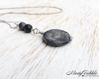 Wire Wrap Pendant Necklace, Jasper Hematite Lava Stone Necklace, Gemstone Necklace, Boho Jewelry, Wire Wrap Necklace, Long Boho Necklace