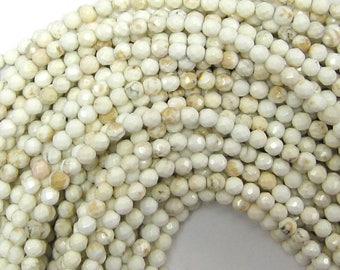 """4mm faceted white turquoise round beads 15.5"""" strand 33787"""
