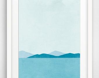 Teal Beach Coastal Decor, Seascape Art Print, Large Wall Art, Teal Art, Ocean, Sea