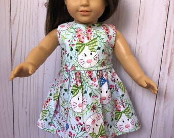 American Girl Doll Dress: Bunnies and Pretty Bows, 18 inch Doll Clothes