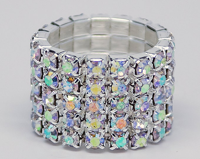Josie 5 Row AB Crystal IFBB or NPC Bikini Fitness Competition Rhinestone Stretch Ring