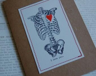 Love Card I love you... love card skeleton torso with heart