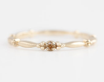 Tiny champagne diamond solitaire ring, 14k yellow gold, rose gold, white gold, brown diamond stack rings, diamond stacking ring, unique ring