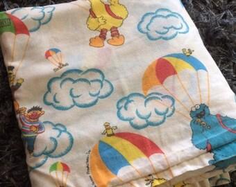 SUMMER SALE Sesame Street Twin Flat Sheet Parachute Muppets Jim Henson 1991 - Kids Character Linens 90s Kids