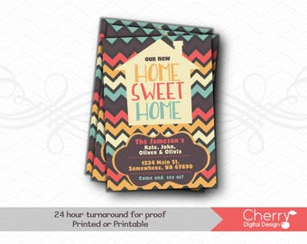 Modern Chevron Moving Announcements | Printed or Printable Home Sweet Home Moving Announcement