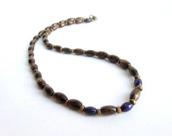 Men wooden necklace, wood beaded choker necklace, men brown wood necklace, brown purple wooden necklace, men ethnic necklace