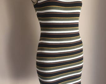 Women's striped dress Fitted striped