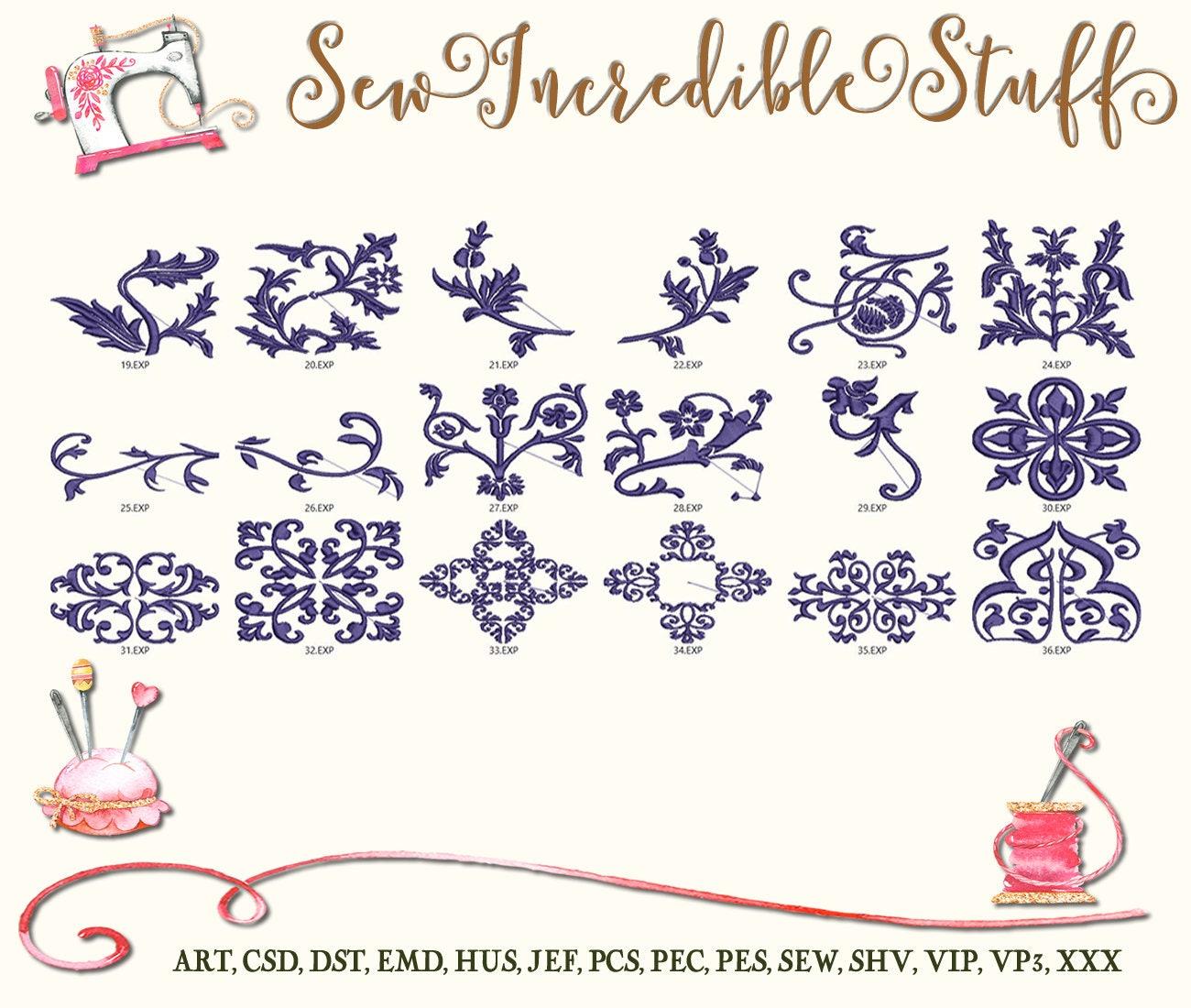 Dekorative Scroll Arbeit Schnörkel Maschine Stickerei-Dateien von ...