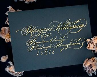 CLASSIC Script Hand Calligraphy Envelope Address Greeting Cards Flourish Gold