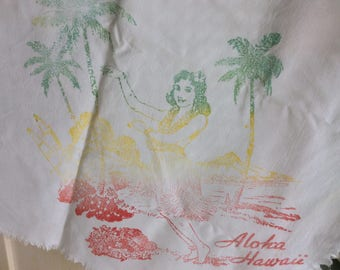 "Vintage Hawaiian Tablecloth, Cotton, 42""x44"", Hula girls, Islands and Surfer, Pristine!"