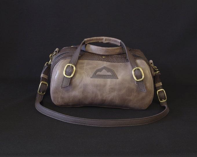 """bowling"".in men women Brown/gray leather handbag"