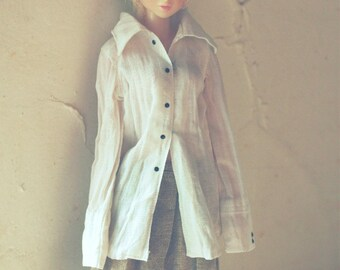 jiajiadoll -white natural shirt for Momoko or Misaki or Blythe