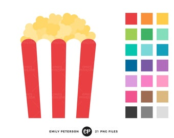 Popcorn Clip Art, Circus Carnival Clipart, Movie Theater Clip Art - Commercial Use, Instant Download