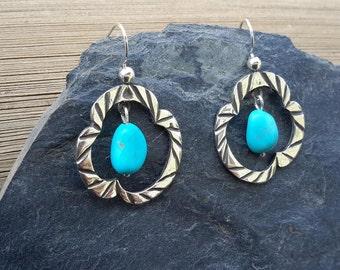 No. 97 Castle Dome Turquoise Dangle Earrings